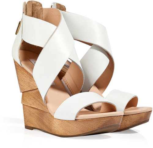 Diane von Furstenberg White Leather Opal Wedges