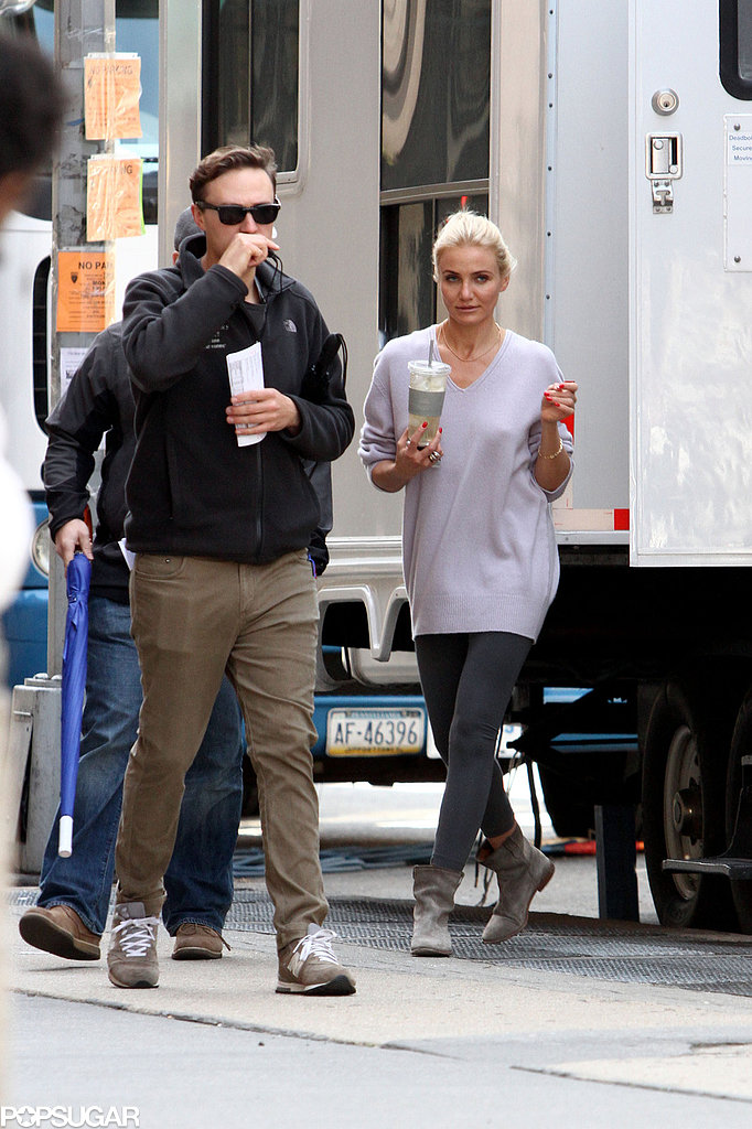 Cameron Diaz was on The Other Woman set in NYC on Tuesday.