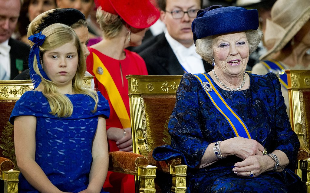 The former queen sat beside her granddaughter, heiress apparent Catharina-Amalia.