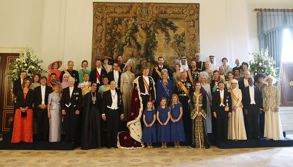 King Willem-Alexander and Queen Maxima of the Netherlands posed with guests following their inauguration ceremony.