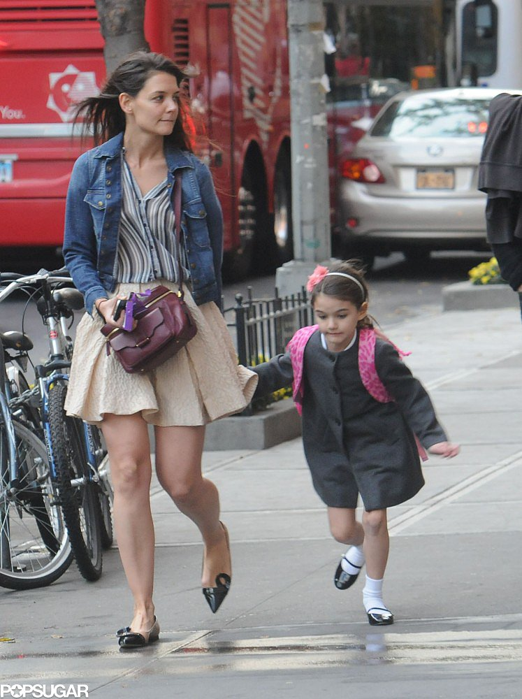 The Jerome C. Rousseau Mika flats ($348, originally $695) Katie Holmes wore with her Derek Lam camera bag and denim jacket in NYC would add polish to just about any piece it touches. We can see it especially working for the office with wide-leg or cropped trousers.