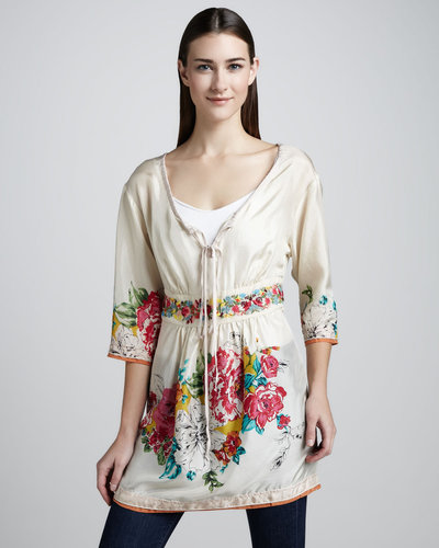 Johnny Was Collection Layered Floral Georgette Blouse, Women's