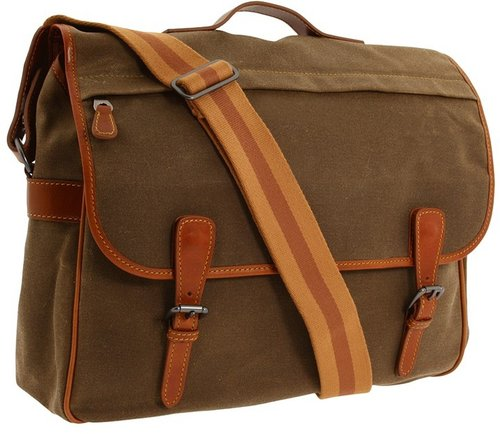 Mulholland Brothers - Lombard Street Messenger Bag (Tan Waxed Canvas) - Bags and Luggage