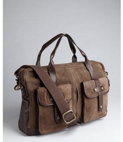 John Varvatos Star USA brown washed suede messenger bag