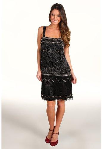 Unique Vintage - Drop Waist Flapper Dress (Black) - Apparel