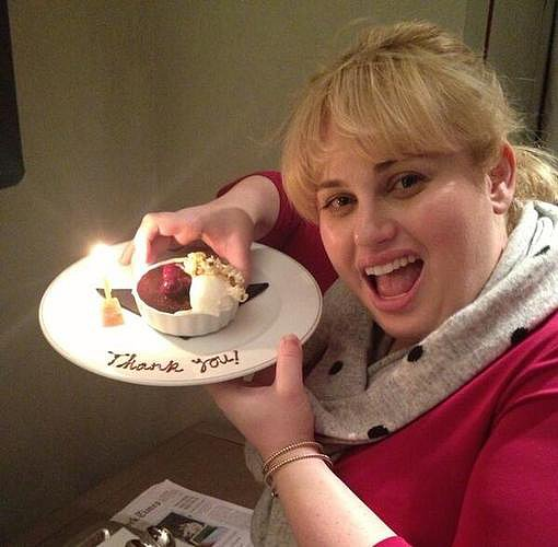 Rebel Wilson celebrated reaching one million Twitter followers with a snack. Source: Twitter user RebelWilson