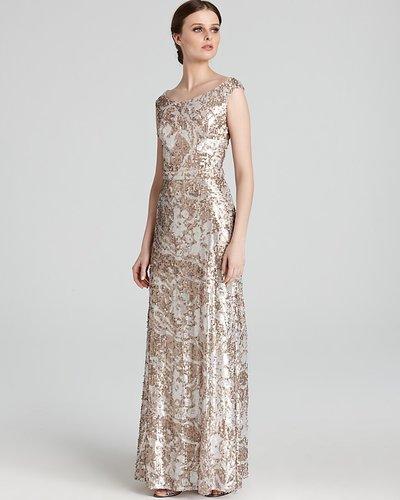 David Meister Gown - Off The Shoulder Floral Sequin