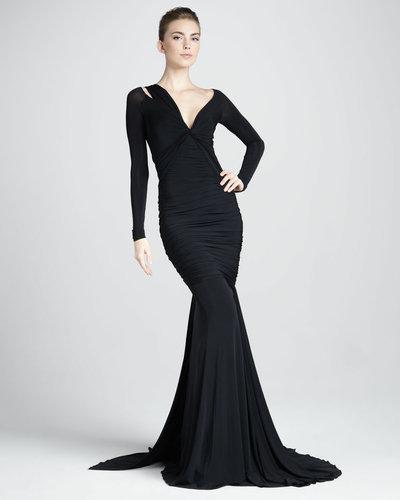 Donna Karan Long-Sleeve Mermaid Jersey Gown, Black