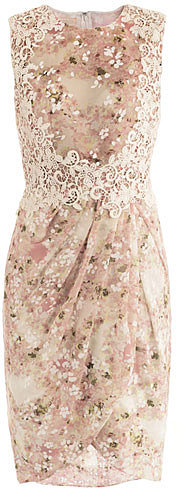Giambattista Valli Sleeveless lace and floral-print dress