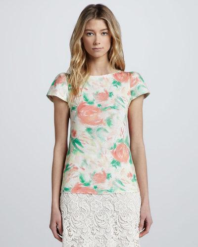 Alice + Olivia Floral-Print Puff-Sleeve Tee