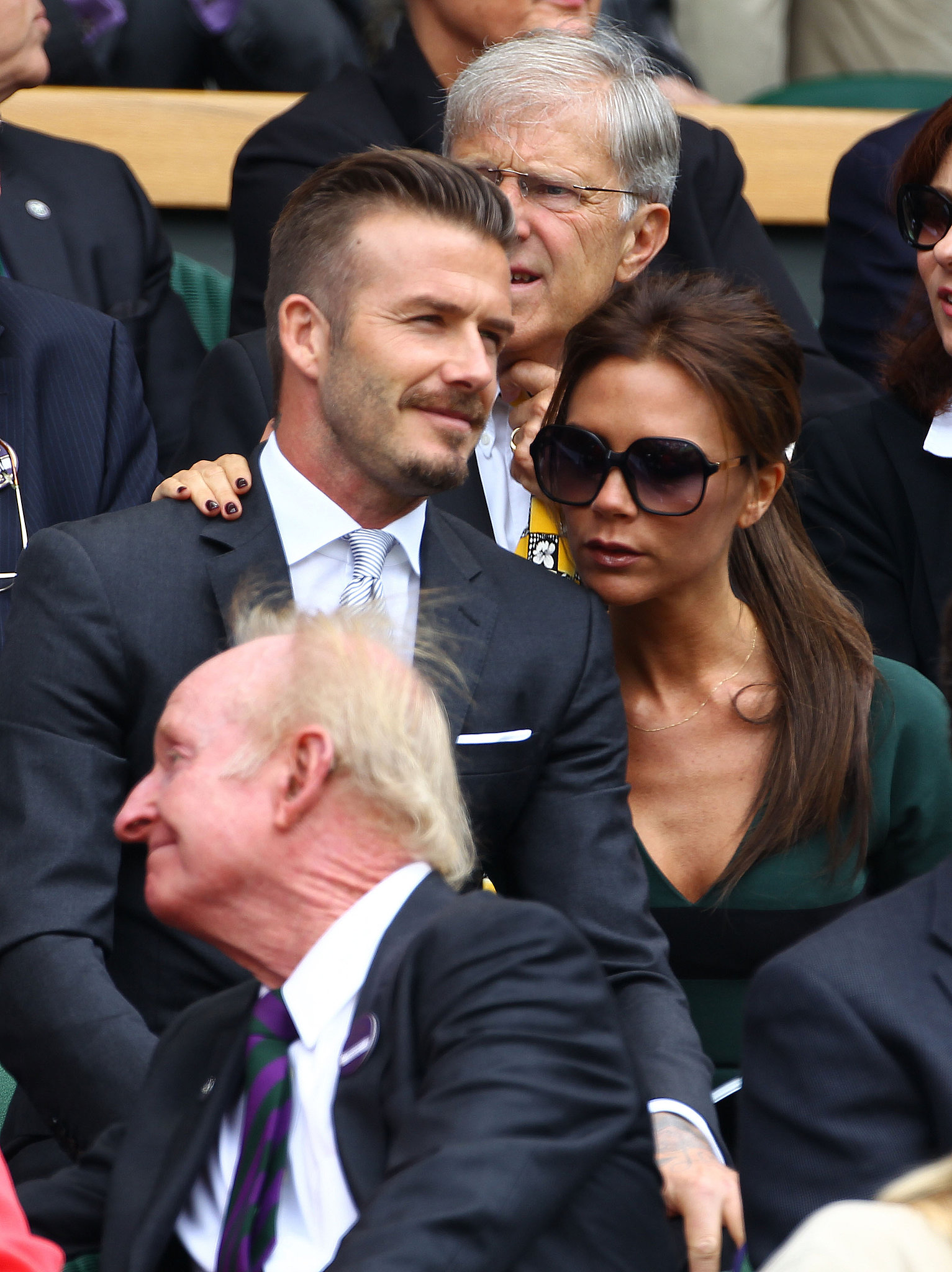 David and Victoria stayed close while they watched Wimbledon in July 2012.