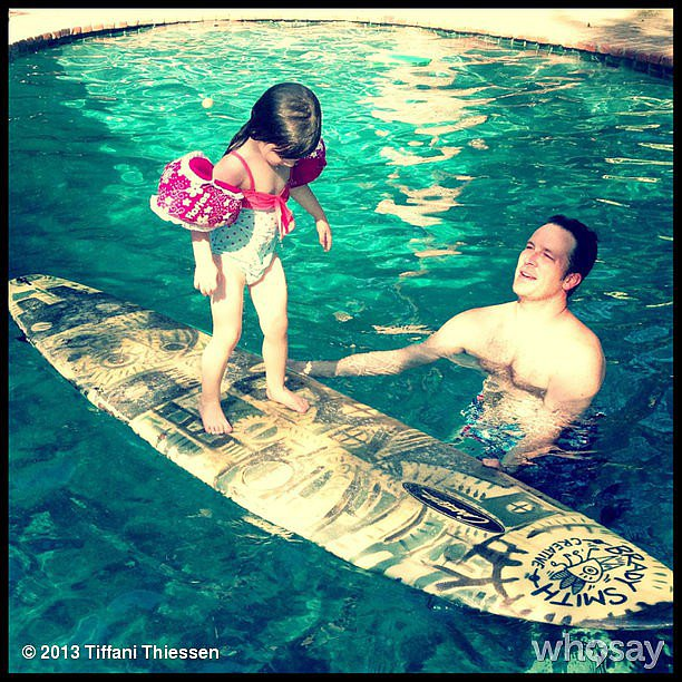 It looked like Harper Smith was getting ready for some waves during a mini surfing lesson with her dad. Source: Instagram user tathiessen