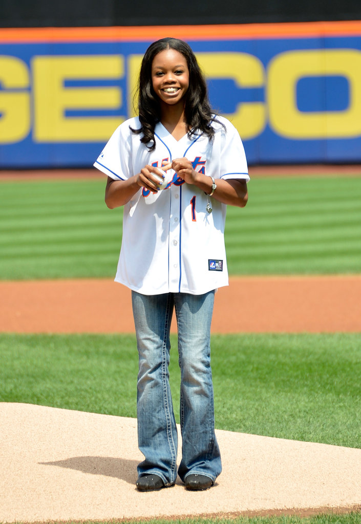 Olympic gold medalist Gabby Douglas threw the first pitch for the Mets game in NYC in August 2012.
