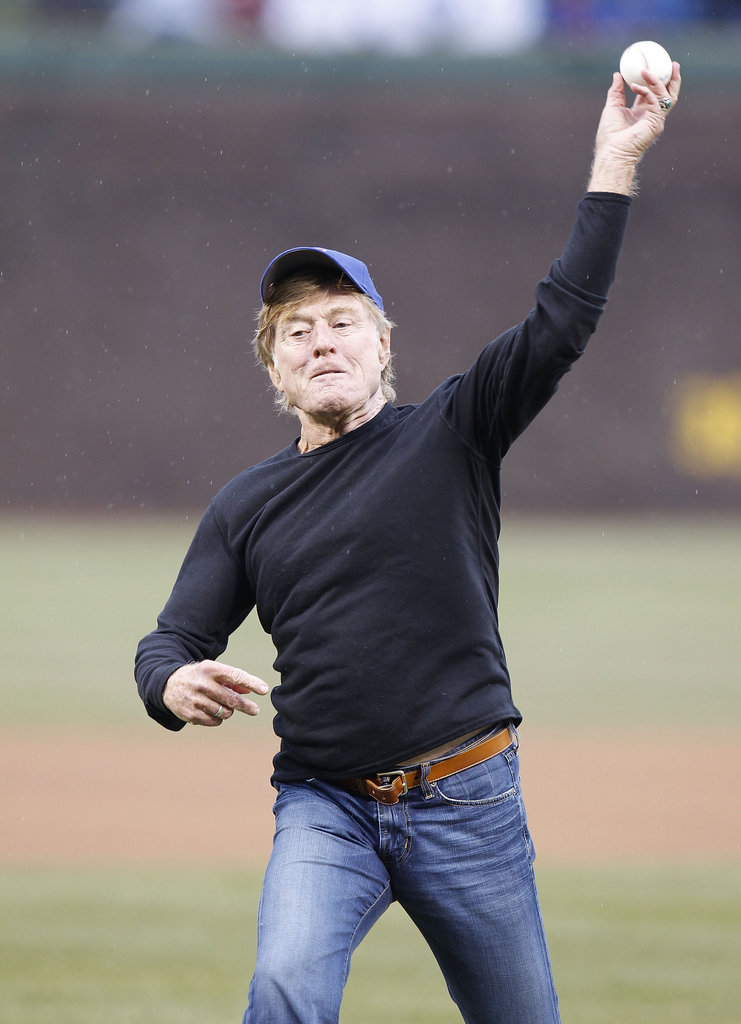 Robert Redford gave the ceremonial first pitch his all at a Chicago Cubs game in April 2011.