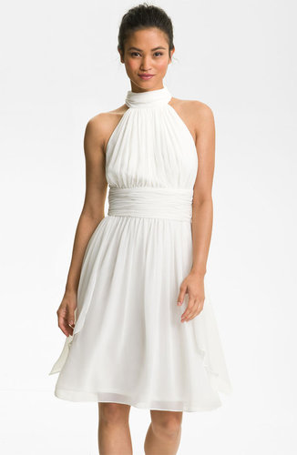 Maggy London Ruched Chiffon Halter Dress