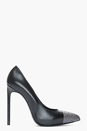 SAINT LAURENT Black snakeskin toe Paris Pumps