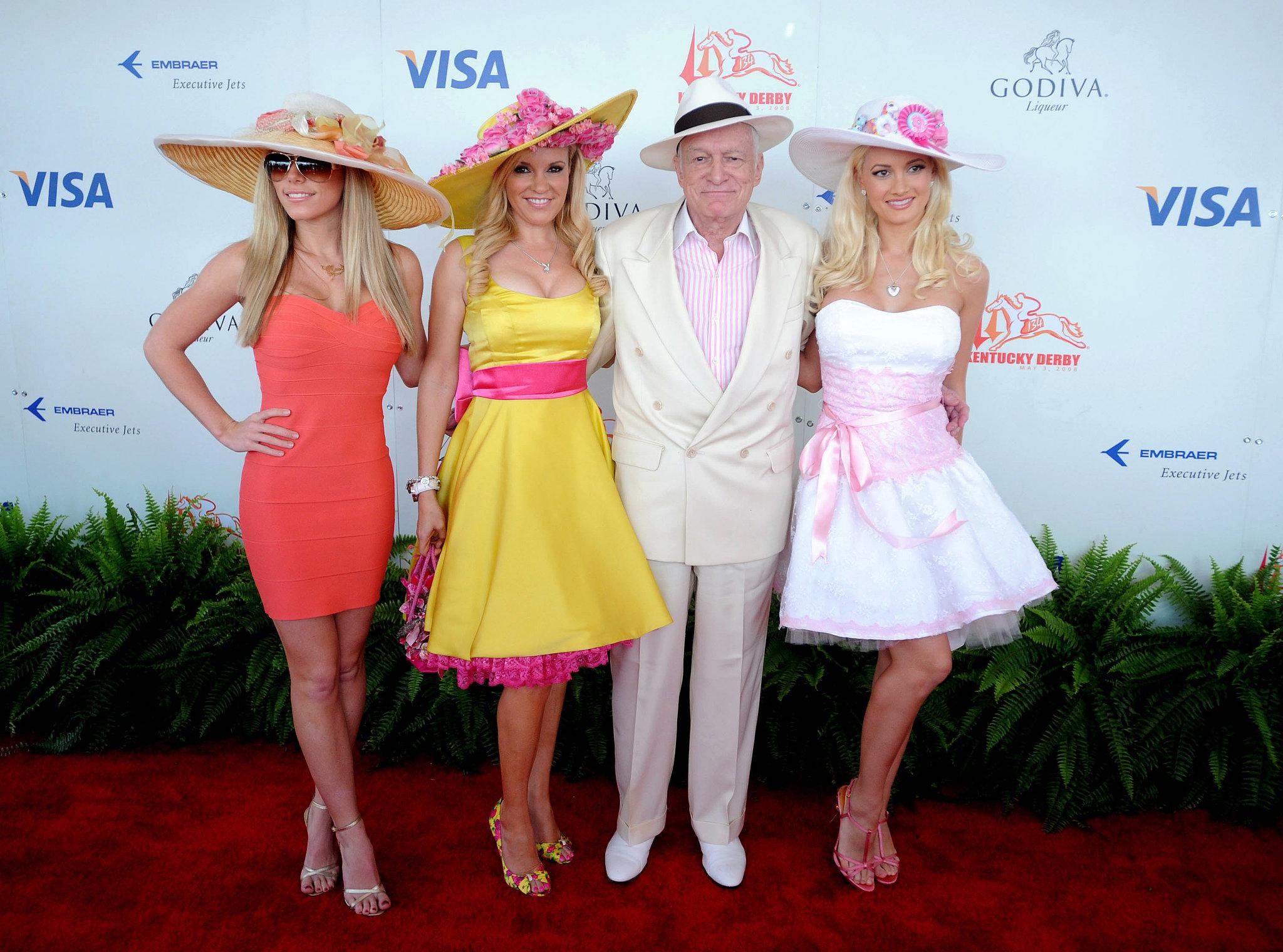 Hugh Hefner brought his then-girlfriends to the 2008 derby.