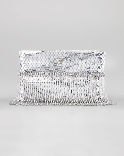 Prada Beaded Paillettes Flat Clutch Bag, Silver