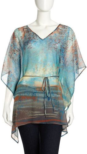 XCVI Multi-Print Caftan-Sleeve Tunic, California Dreamin