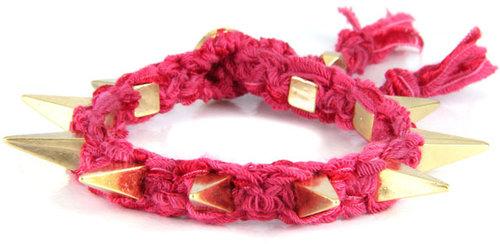 Ettika Ribbon Bracelet w Pyramid Spikes in Red