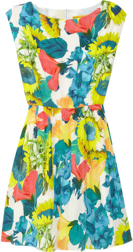Alice + Olivia Alissa floral-print stretch silk-georgette dress