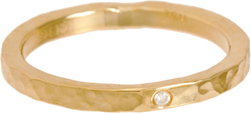 Jennifer Meyer Diamond & Gold Hammered Ring