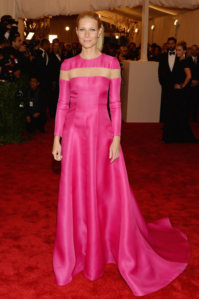 Gwyneth Paltrow took the ultimate punk approach and rejected the theme entirely. Instead, she selected a classic Valentino gown in bold pink with Wilfredo Rosado diamond stud earrings.