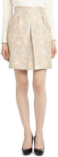 Petite Front Pleat Jacquard Skirt