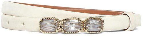 Nubuck Jeweled Plaque Belt