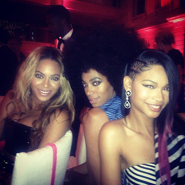 How's this for a stylish trio? Beyoncé posed with her sister Solange as well as model Chanel Iman inside the event. Source: Instagram user chaneliman