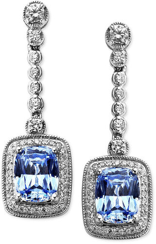 Arabella Sterling Silver Earrings, Blue and White Swarovski Zirconia Cushion Cut Drop Earrings (9-1/2 ct. t.w.)