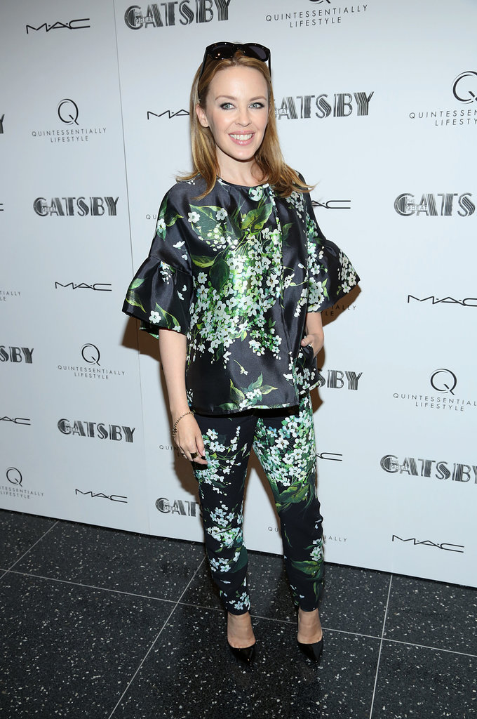 Kylie Minogue opted for a Dolce & Gabbana statement-print top and pant set at the special screening of The Great Gatsby.
