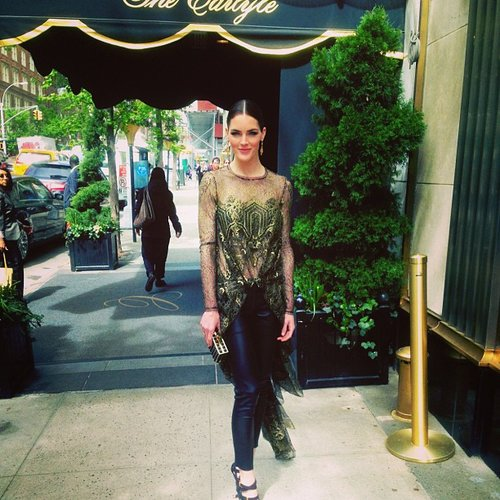 Hilary Rhoda showed off her Wes Gordon look outside of the Carlyle Hotel. Source: Instagram user hilaryhrhoda