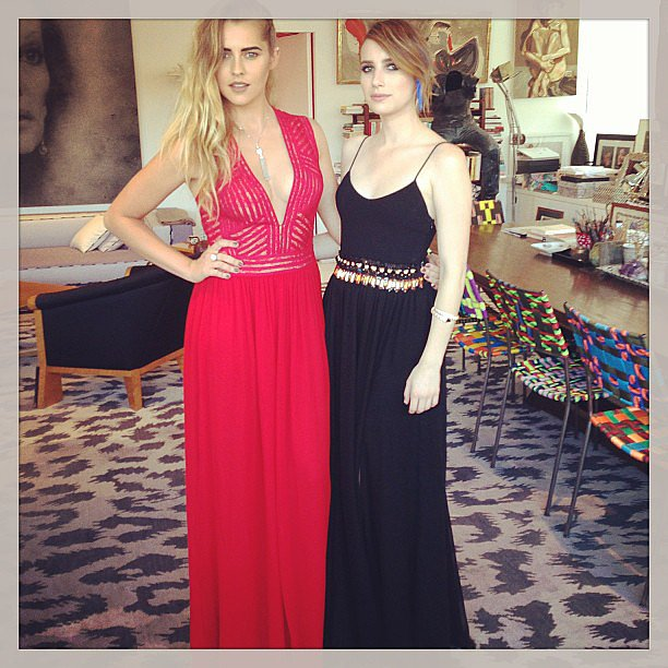 Emma Roberts posed with Teresa Palmer before the 2013 Met Gala. Source: Insta