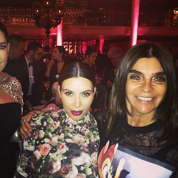 Kim Kardashian met up with Carine Roitfeld inside the bash. Source: Instagram user KimKardashian