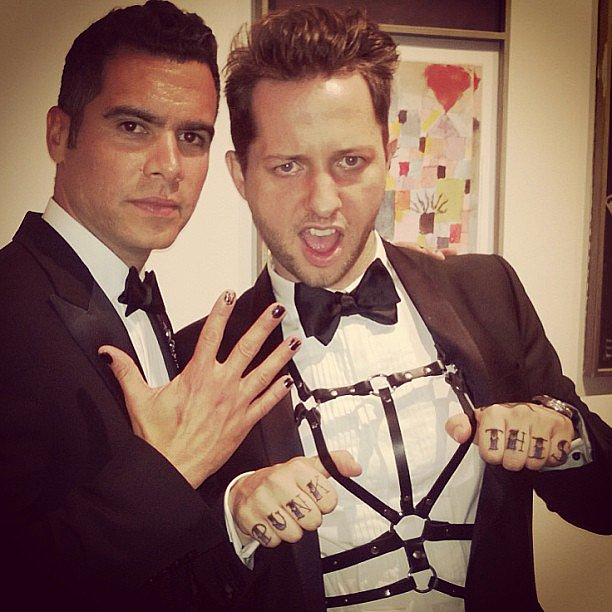 Cash Warren painted his nails black and posed with Derek Blasberg. Source: Instagram user jessicaalba