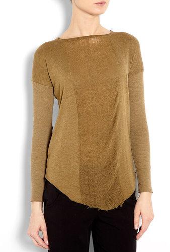 Raquel Allegra Basic Long Sleeve Deconstructed Jersey Top