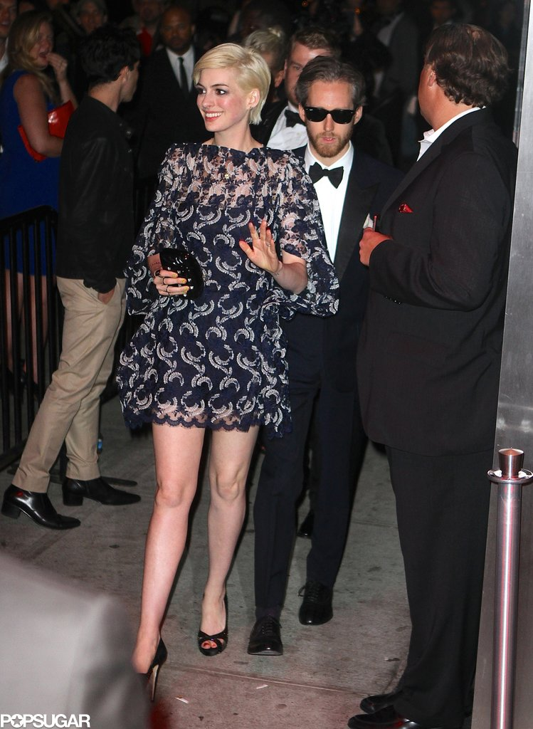 Anne Hathaway's husband, Adam Shulman, joined her for the Met Gala afterparty.