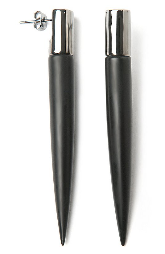 Eddie Borgo's black long spike stud earrings ($315) will definitely make your earlobes the center of attention. Just add black leather pants to match.
