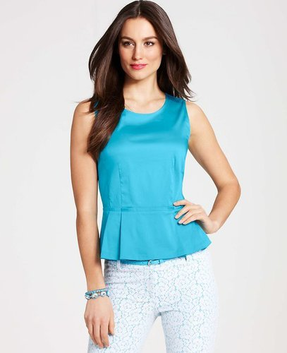 Cotton Sateen Peplum Shell