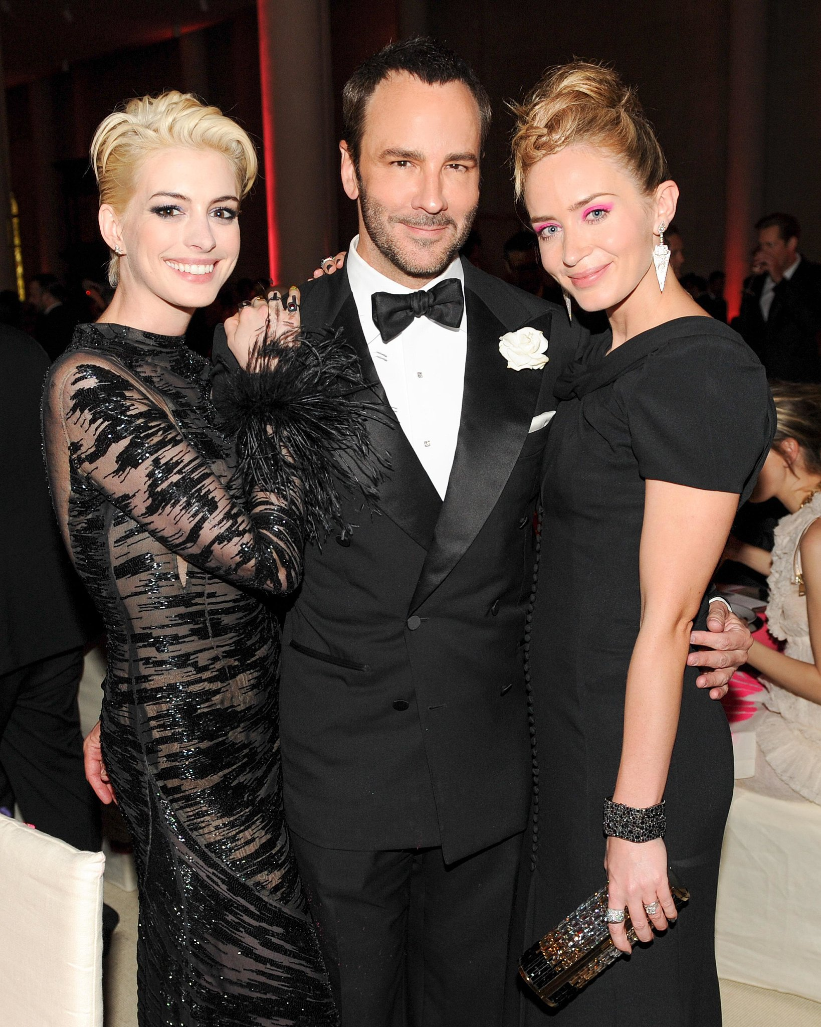 Tom Ford was in good company with Anne Hathaway and Emily Blunt during the special Met Gala dinner.  Source: Billy Farrell/BFANYC.com
