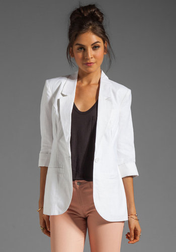 Central Park West Durham Linen Elbow Sleeve Blazer