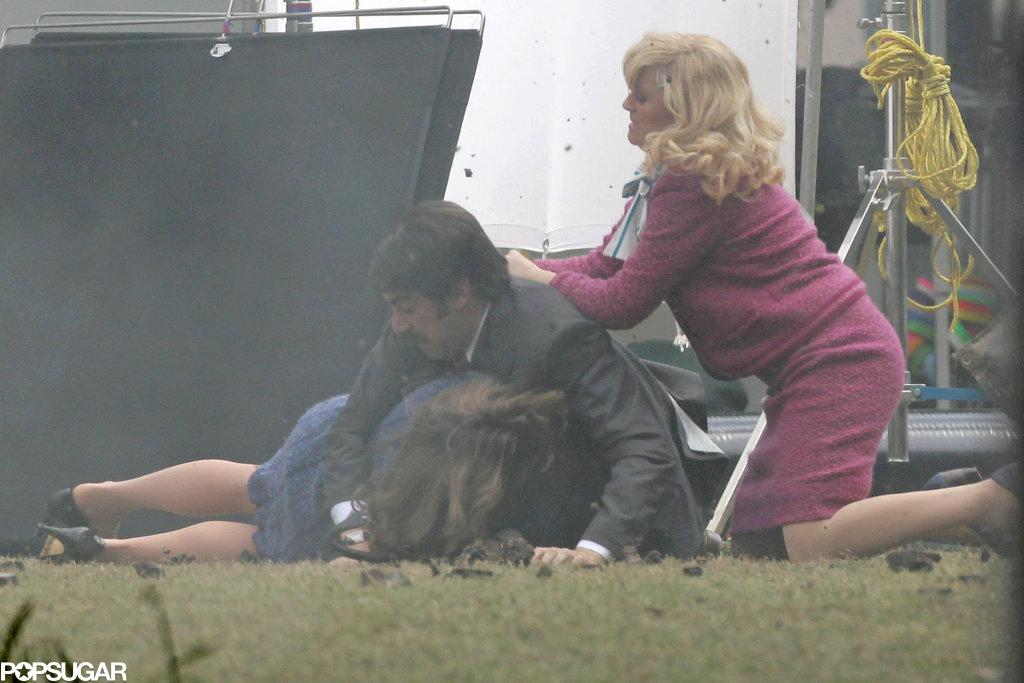 Tina Fey and Amy Poehler Beat Up Sacha Baron Cohen on Star-Studded Anchorman Set