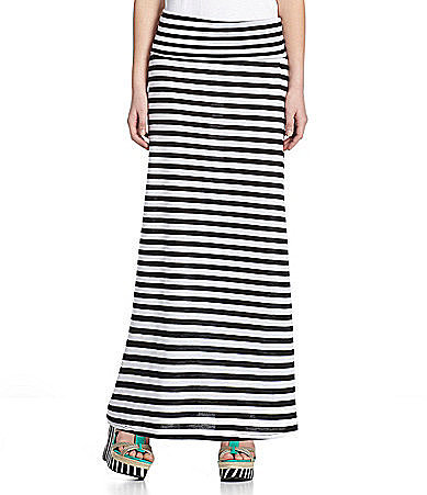 Lily White Striped Maxi Skirt