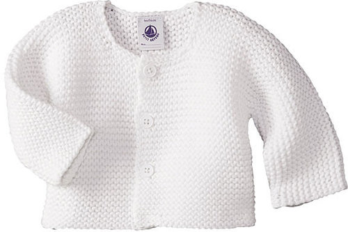 Baby Cardigan In Garter Stitch Knit