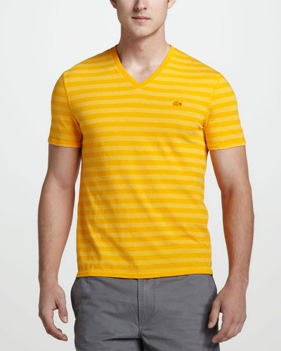 Lacoste Vintage-Wash Striped Tee, Gerbera Daisy Yellow