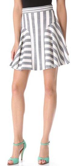 Milly Kylie Stripe Flounce Skirt