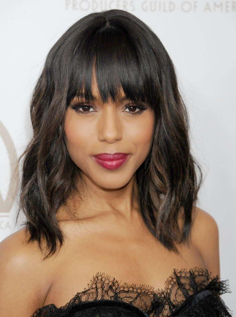 Although Kerry usually wears her bangs pulled back or sideswept, she tried something new at the Producers Guild Awards with blunt fringe and beachy waves.
