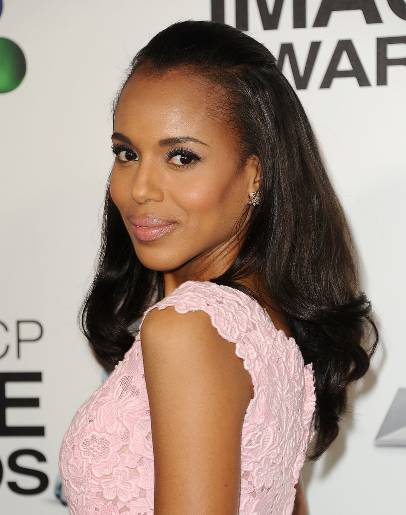 One of Kerry's signature styles is this half-up hairdo, a style she wore at the NAACP Awards with a pastel makeup palette to complement her dress.
