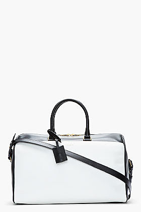 SAINT LAURENT Black & White Leather Bo Duffle Bag